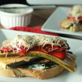 Balsamic Roasted Veggie Sandwich | Destination Delish - Roasted vegetables atop toasted bread with garlic basil mayo and melted cheese