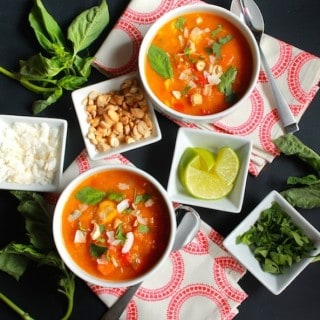 Thai Butternut Squash and Chicken Soup | Destination Delish - A hearty, Thai-inspired soup that pairs butternut squash with the vibrant flavors of Thai red curry.