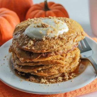 Pumpkin Cheesecake Pancakes   Destination Delish