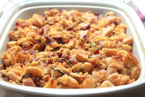 Light Cranberry Apple Bacon Cornbread Stuffing