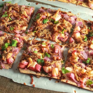 Maple BBQ Pulled Pork, Apple, and Onion Lavash Pizza | Destination Delish