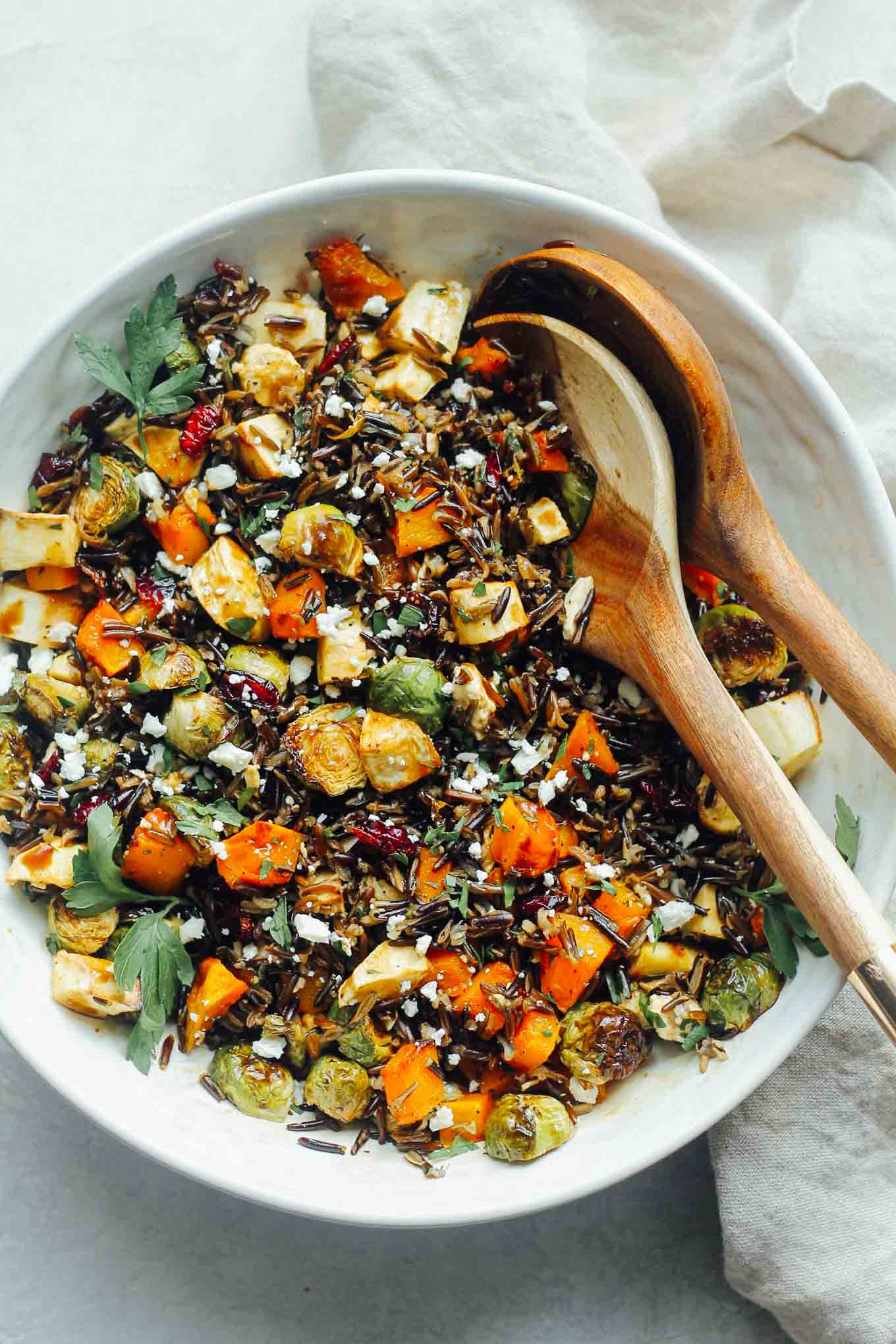Butternut Squash, Brussels Sprouts, and Parsnip Toss with Wild Rice,  Cranberries, and Feta