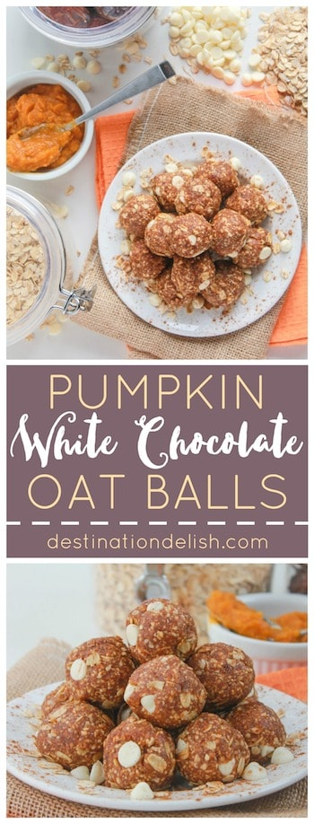 Pumpkin White Chocolate Oat Balls | Destination Delish