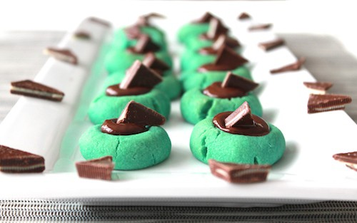 Chocolate Filled Grasshopper Thumbprints
