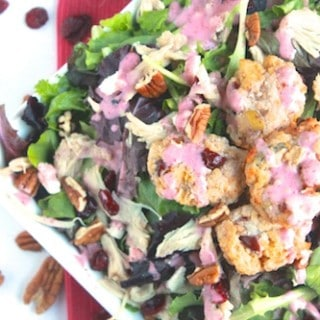 Thanksgiving Leftovers Salad with Mashed Potato Stuffing Cakes and Cranberry Vinaigrette