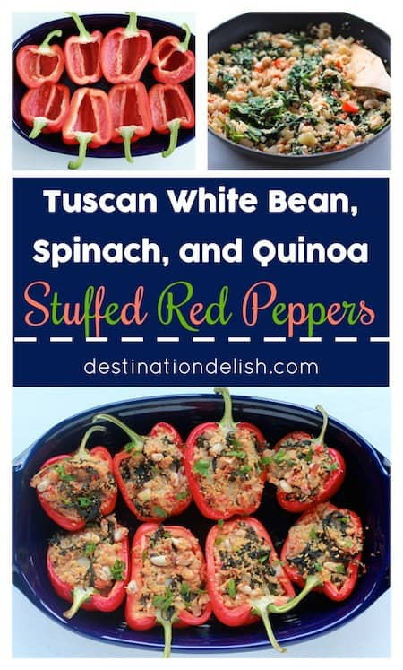 Tuscan White Bean, Spinach, and Quinoa Stuffed Bell Peppers