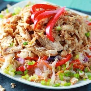 Warm Asian Slaw with Slow Cooker Teriyaki Chicken