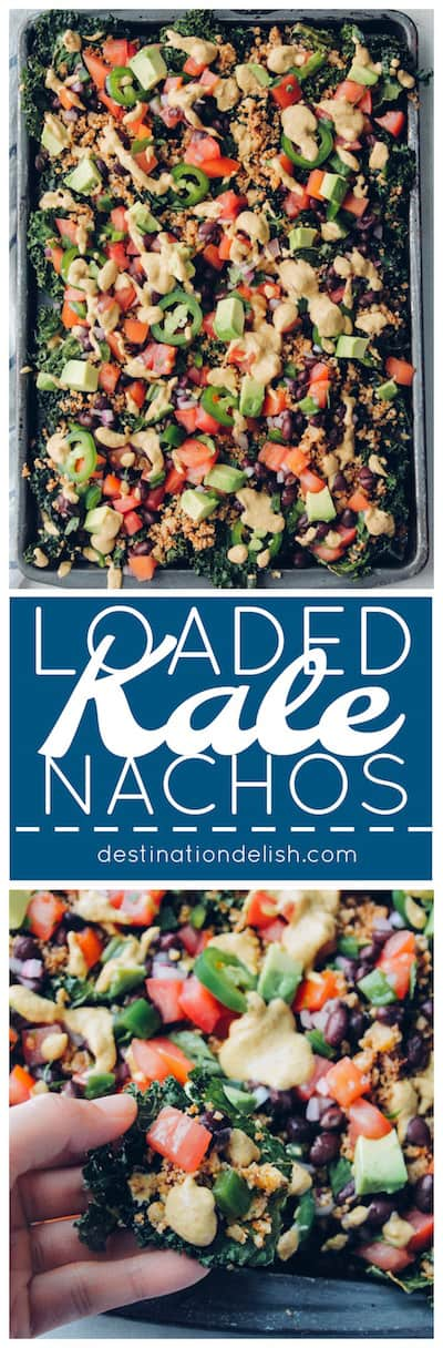 Loaded Kale Nachos | Destination Delish - Kale chips, cauliflower taco meat, and cashew nacho cheese make up the healthiest, most indulgent nachos you will ever eat!