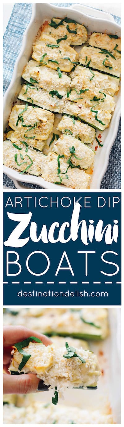 Mini Artichoke Dip Zucchini Boats - Creamy, lightened up artichoke dip packed inside mini zucchini boats!