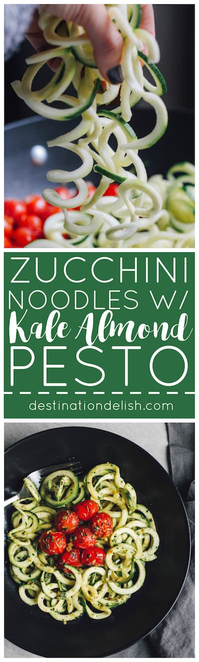 Zucchini Noodles with Kale Almond Pesto | Destination Delish - Spiralized zucchini pasta tossed with a healthy pesto of kale, almonds, garlic, olive oil, and lemon juice.