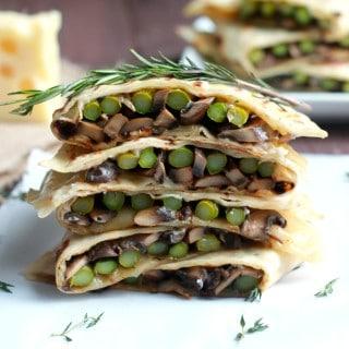 Asparagus, Mushroom, and Swiss Flatbread Melts