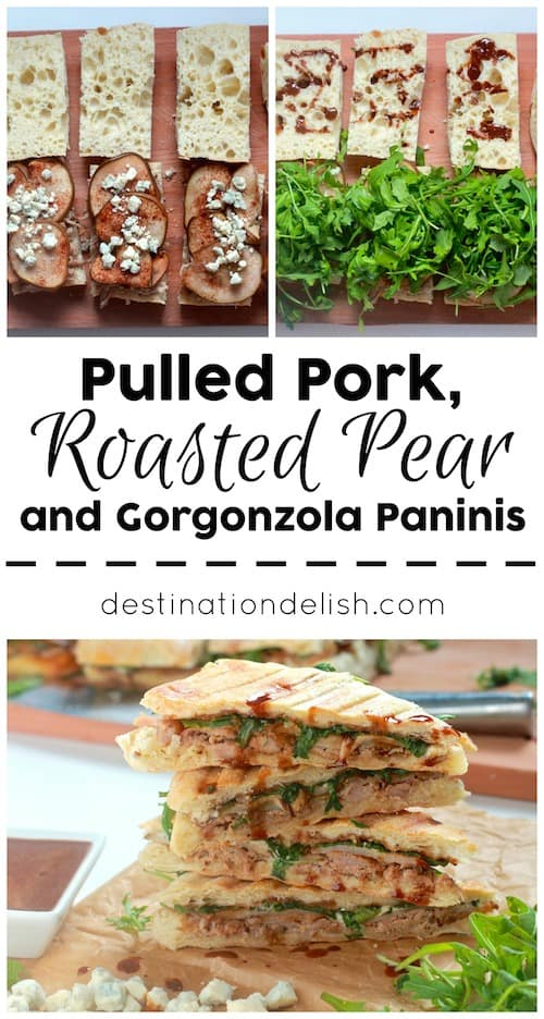 Pulled Pork, Roasted Pear, and Gorgonzola Paninis