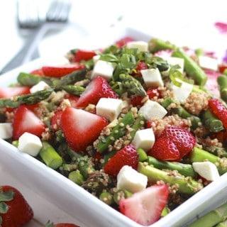Asparagus, Strawberry, and Quinoa Caprese Salad