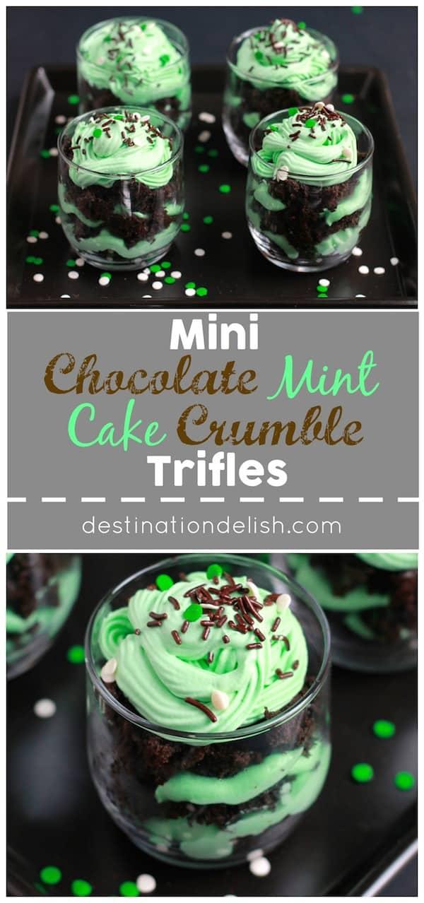 Mini Chocolate Mint Cake Crumble Trifles
