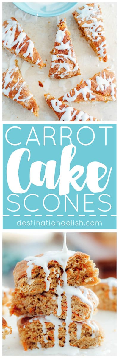 Carrot Cake Scones | Destination Delish - enjoy all the lovely flavors of carrot cake in these lightened up scones drizzled with a decadent cream cheese glaze