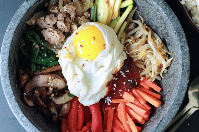 Korean Bibimbap Bowls with Cauliflower Rice