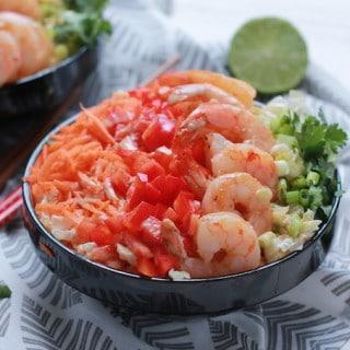 Asian Shrimp and Rainbow Slaw Bowls