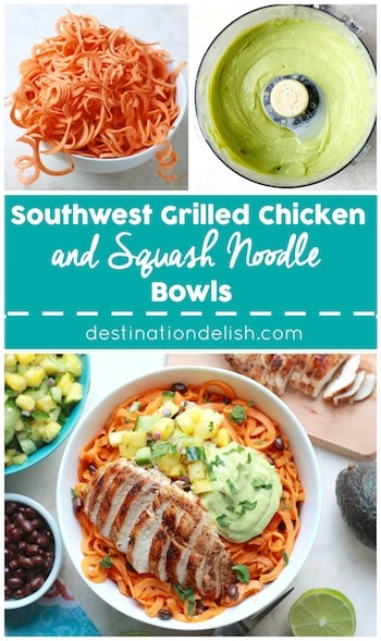Southwest Grilled Chicken and Squash Noodle Bowls | Destination Delish - Spice-rubbed grilled chicken and creamy avocado sauce on a bed of sweet, tender butternut squash noodles. A clean eating and gluten free recipe!