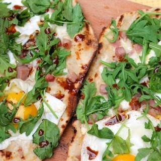 Ham, Egg, and Arugula Grilled Pizza