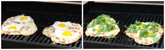 Ham, Egg, and Arugula Grilled Pizza