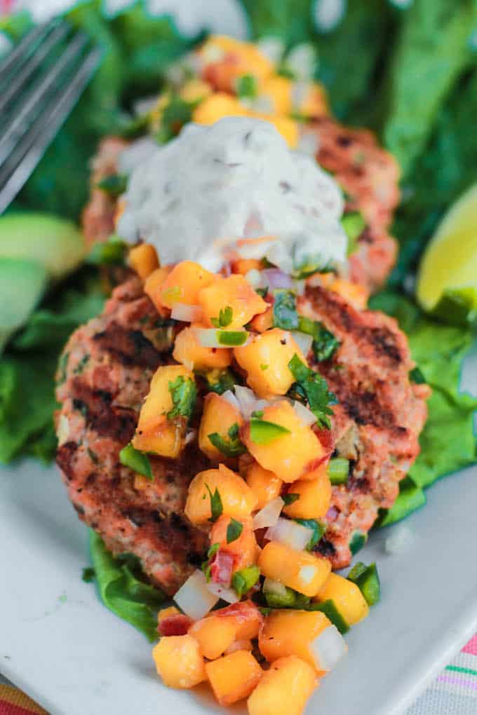 Southwest Salmon Burgers with Peach Salsa