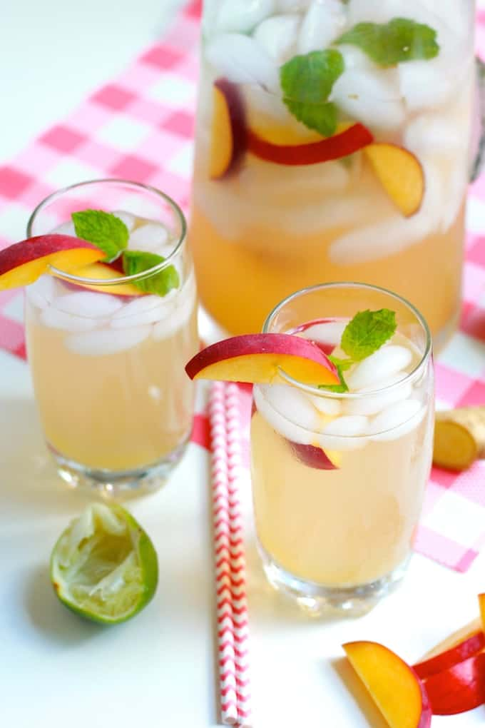 Sparkling Peach Ginger Mojitos