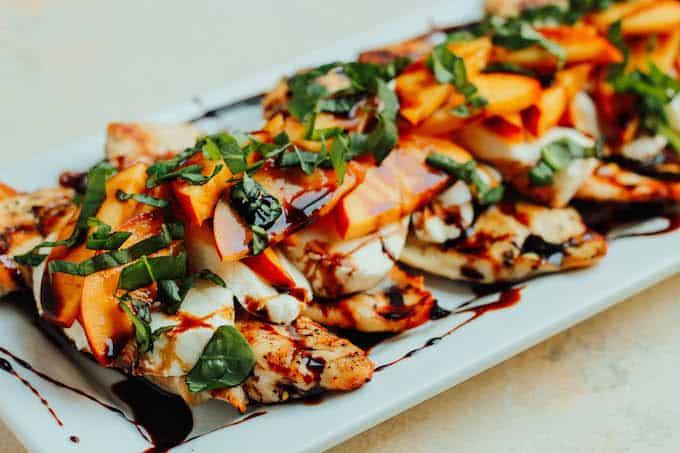 Peach Caprese Grilled Chicken | Destination Delish