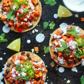 Roasted Sweet Potato Tostadas | Destination Delish - a light and healthy meatless meal filled with Tex Mex flavors