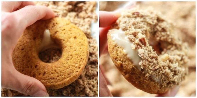 Baked Pumpkin Crumble Donuts | Destination Delish