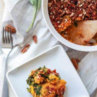 Butternut Squash, Bacon, and Kale Casserole