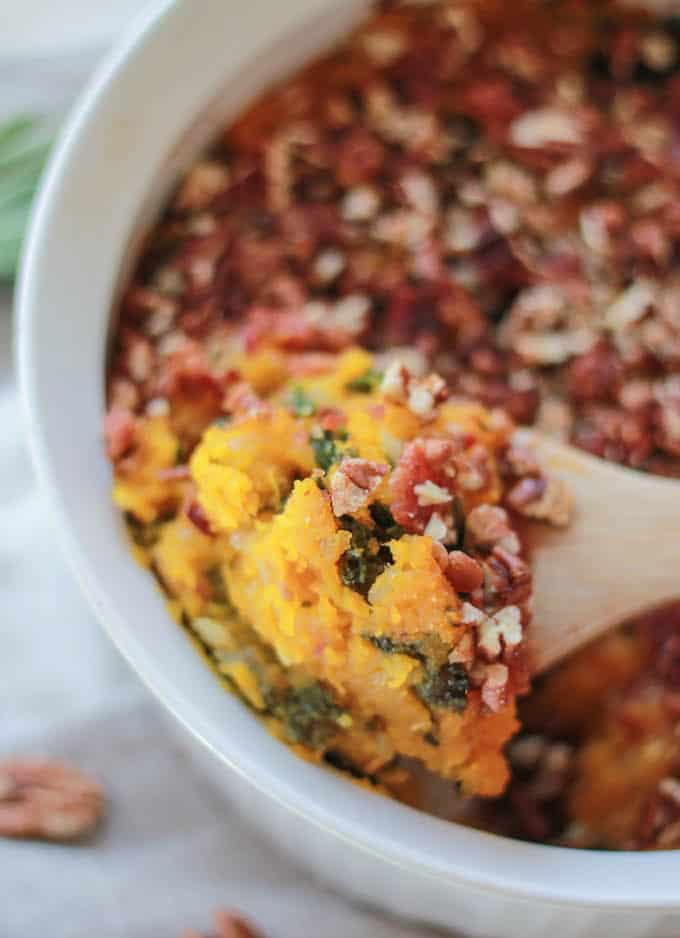 Butternut Squash, Bacon, and Kale Casserole | Destination Delish