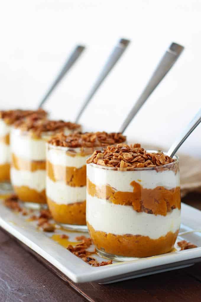 Pumpkin Pie Greek Yogurt Parfaits | Healthy Thanksgiving Recipes | Homemade Recipes