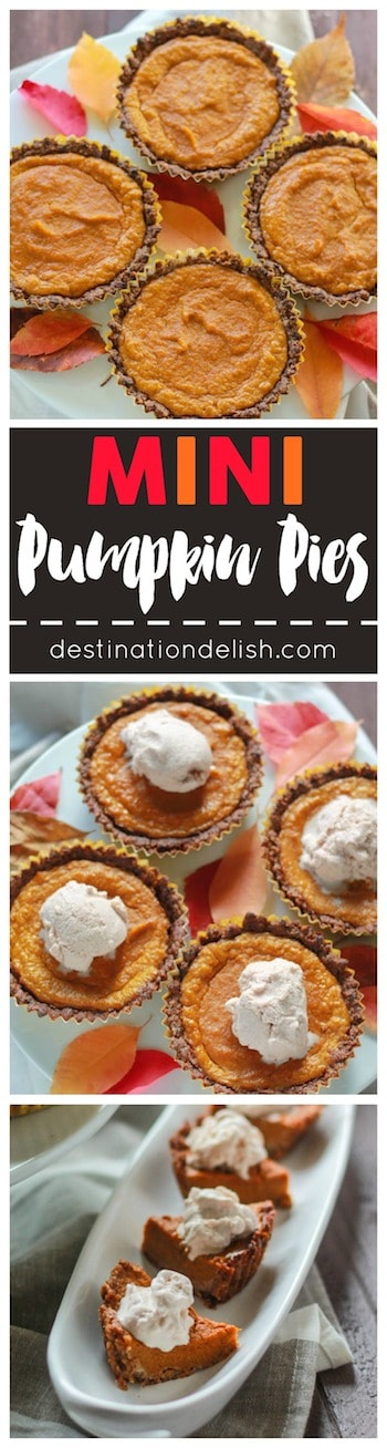 Mini Pumpkin Pies | Destination Delish - A healthier, paleo version of the classic Thanksgiving dessert made with pecans and dates for the crust and sweetened with maple syrup