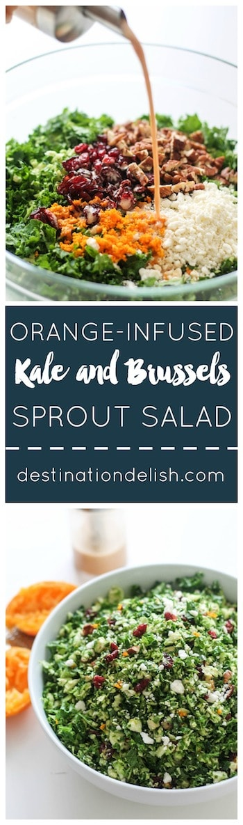 Orange-Infused Kale and Brussels Sprout Salad | Destination Delish