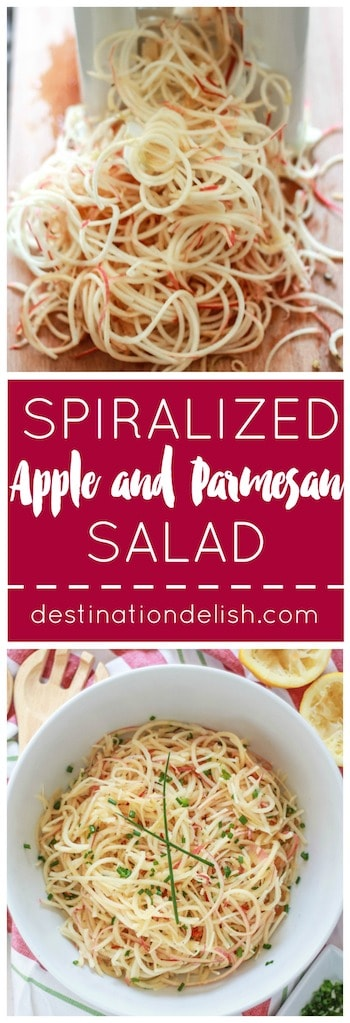 Spiralized Apple and Parmesan Salad | Destination Delish - Sweet, crisp, spiralized apples, nutty Parmesan cheese, and chives tossed in a simple lemon vinaigrette dressing.