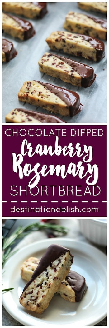 Chocolate Dipped Cranberry Rosemary Shortbread | Destination Delish