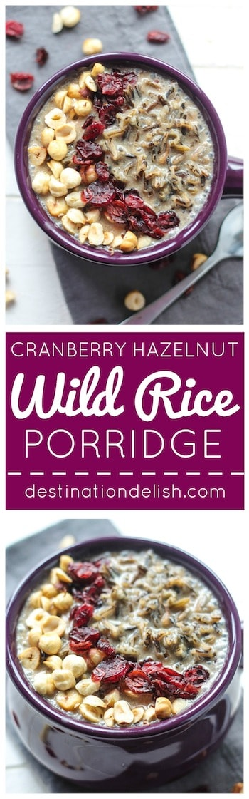 Cranberry Hazelnut Wild Rice Porridge | Destination Delish