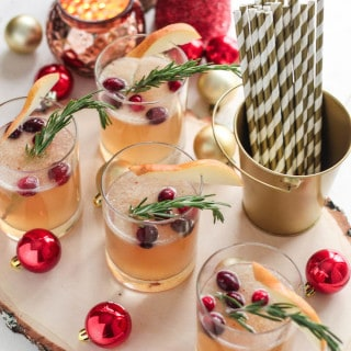 Cranberry, Pear, and Rosemary Fizz | Destination Delish