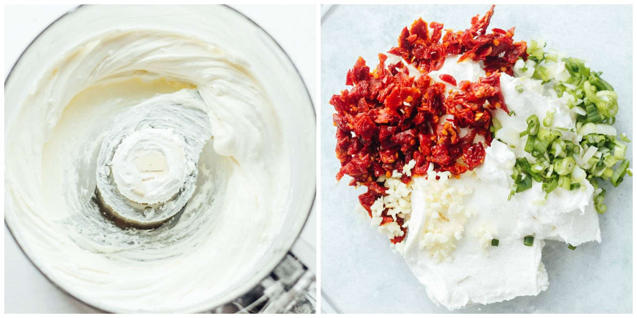 A 2-photo collage of the whipped feta in a food processor and the whipped feta filling mixed in a bowl
