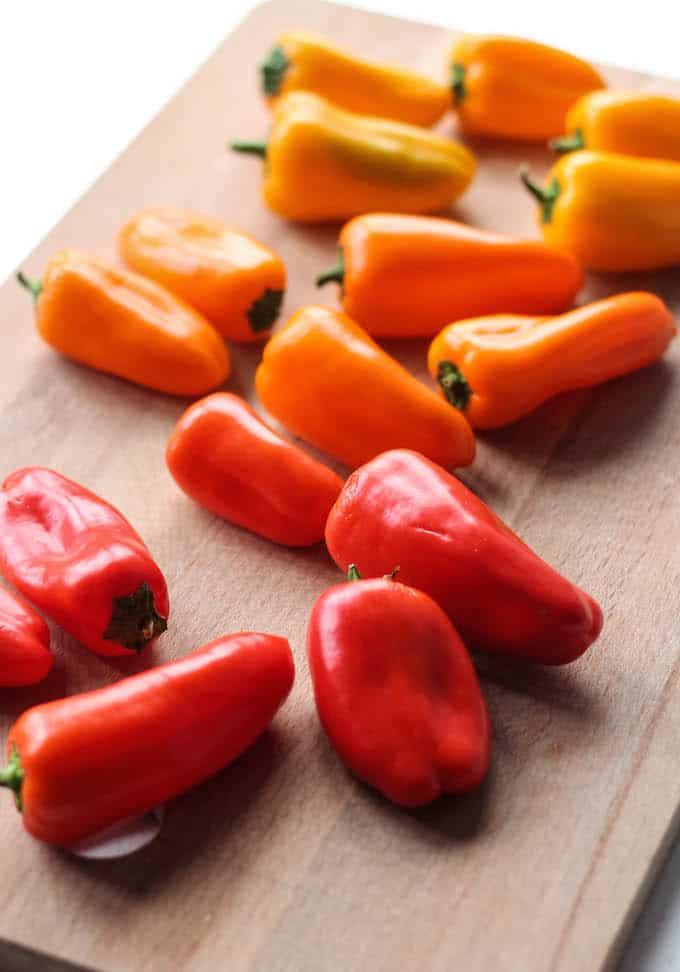 Sun-Dried Tomato and Whipped Feta Stuffed Mini Peppers | Destination Delish