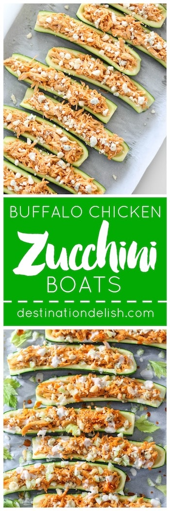Buffalo Chicken Zucchini Boats | Destination Delish - A fun and healthy appetizer recipe! Tangy buffalo chicken stuffed inside zucchini boats and topped with crunchy celery, blue cheese, and ranch dressing
