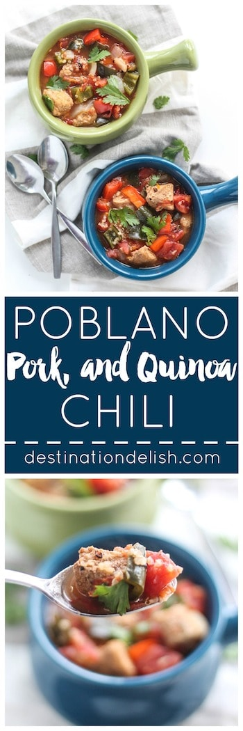 an eclectic chili filled with tender pork, fire roasted tomatoes, peppers, and quinoa simmered in an orange-cinnamon infused broth.