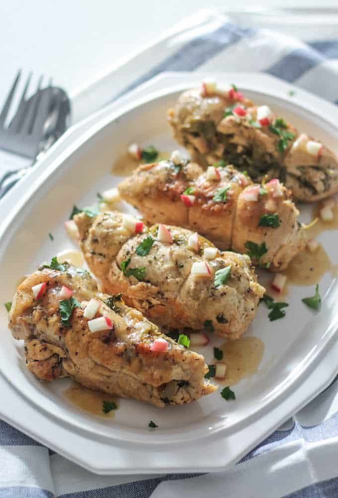 Stuffed Chicken Breasts with Apples, Gouda, and Kale | Destination Delish – stuffed chicken infused with sweet and savory flavor and braised until fork tender