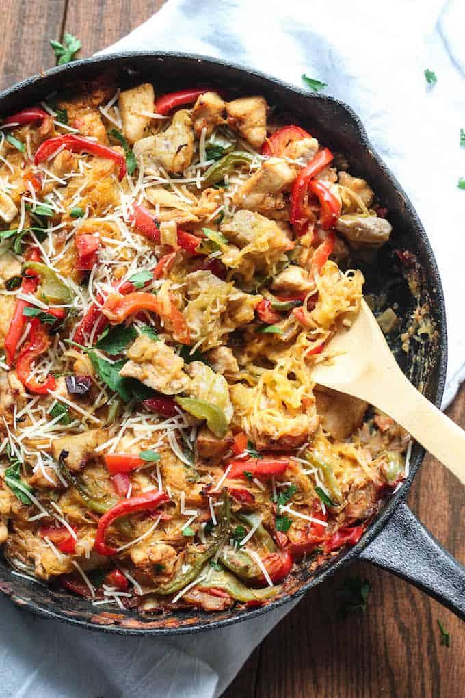Cajun Chicken Spaghetti Squash Bake | Destination Delish – all the flavor of Cajun chicken pasta packed into a lightened-up, spaghetti squash casserole