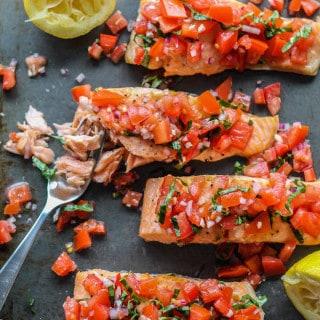 Roasted Salmon with Tomato Basil Relish