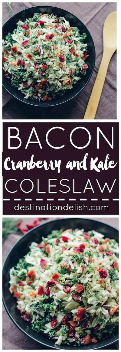 Bacon, Cranberry, Kale Coleslaw | Destination Delish – A delightful coleslaw made lighter with Greek yogurt dressing. It's full of crunchy texture and little punches of flavor from the bacon and dried cranberries. Easy, gluten-free