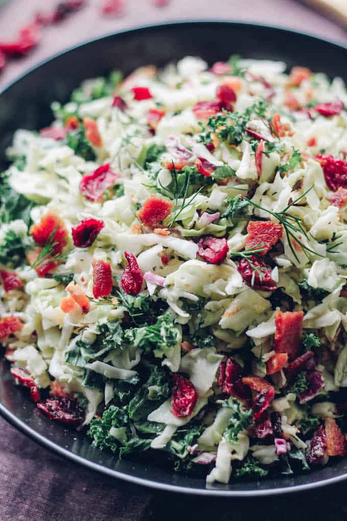 Bacon, Cranberry, Kale Coleslaw | Destination Delish – A delightful coleslaw made lighter with Greek yogurt dressing. It's full of crunchy texture and little punches of flavor from the bacon and dried cranberries. Easy, gluten-free.
