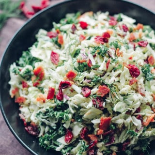 Bacon, Cranberry, Kale Coleslaw | Destination Delish – A delightful coleslaw made lighter with Greek yogurt dressing. It's full of crunchy texture and little punches of flavor from the bacon and dried cranberries.
