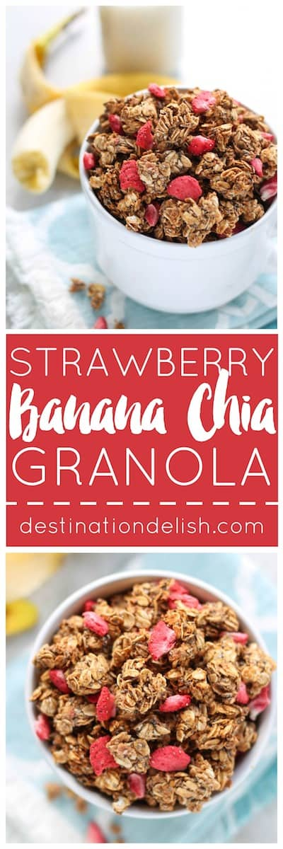 Strawberry Banana Chia Granola | Destination Delish - A nut free granola sweetened with maple syrup and strawberry banana puree. The huge, crunchy oat and chia clusters will taste divine in your morning yogurt or oatmeal! Vegan, nut free, dairy free.