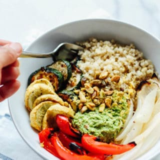 Quinoa Bowls with Pea Pesto